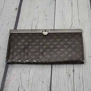 Vintage Brown Quilted Patent Wallet